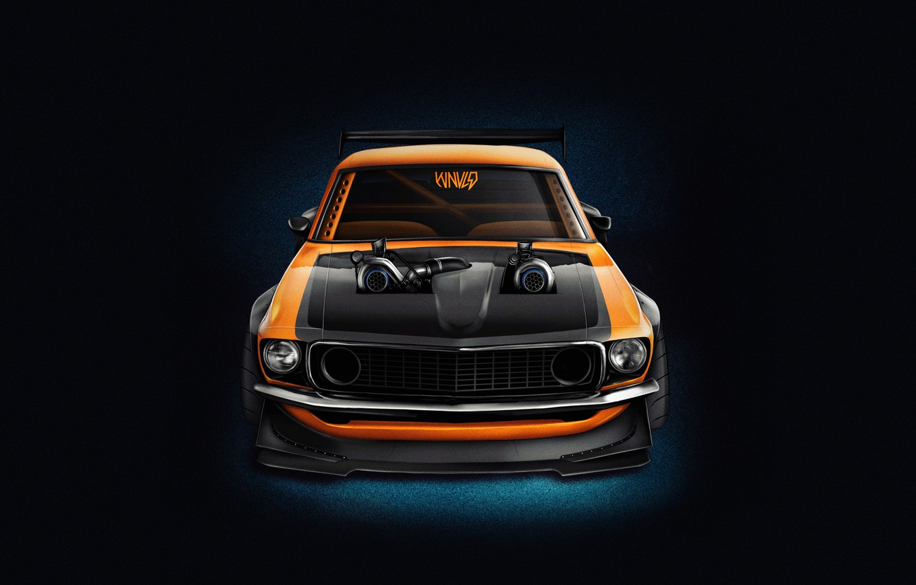 Photo wallpaper Mustang, Ford, Auto, Machine, Orange, Background, 1969, Car, Ford Mustang, Muscle car, The front, Render, …