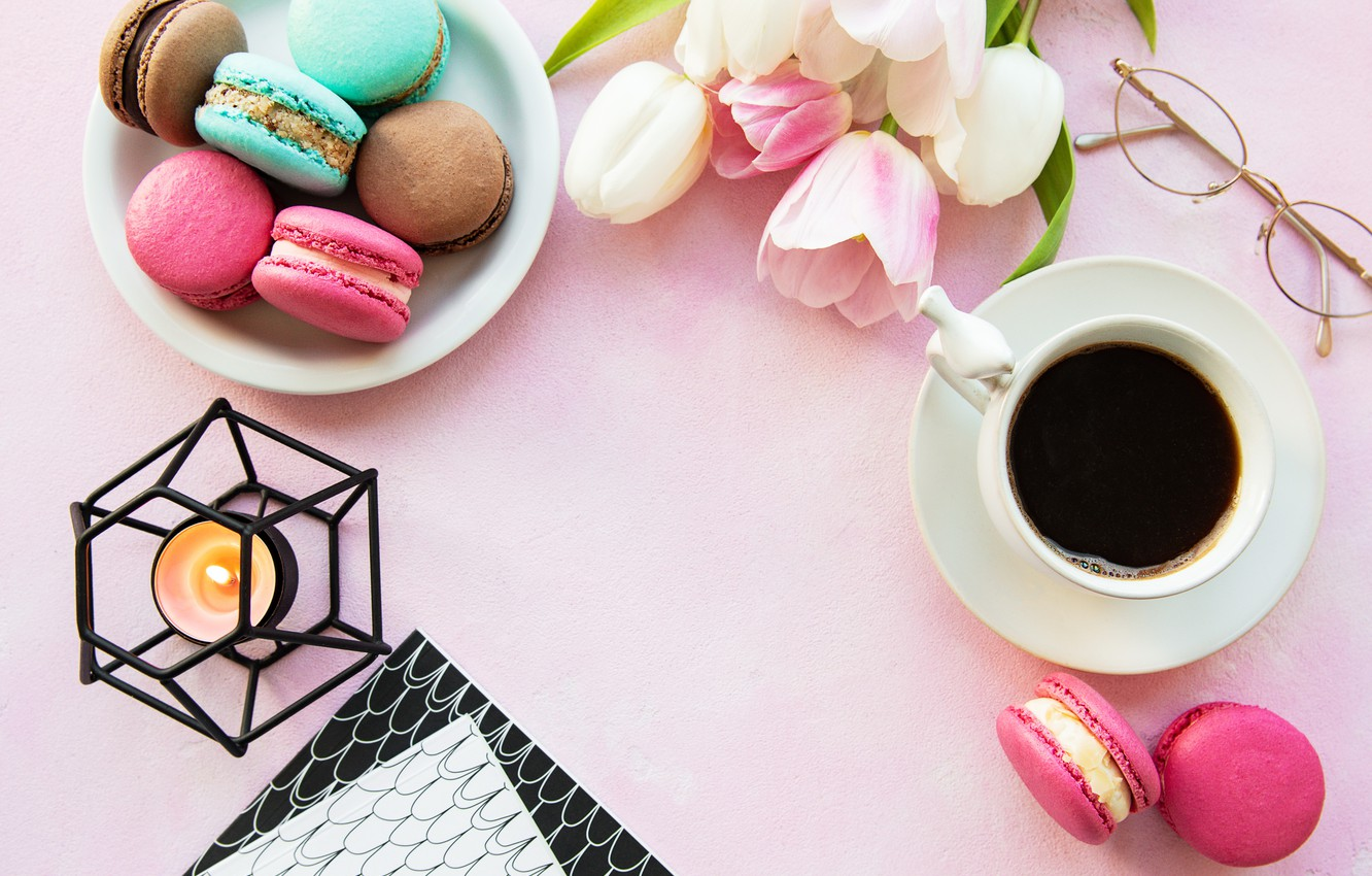 Photo wallpaper colorful, tulips, pink, tulips, coffee cup, macaroons, macaron, a Cup of coffee, macaroon
