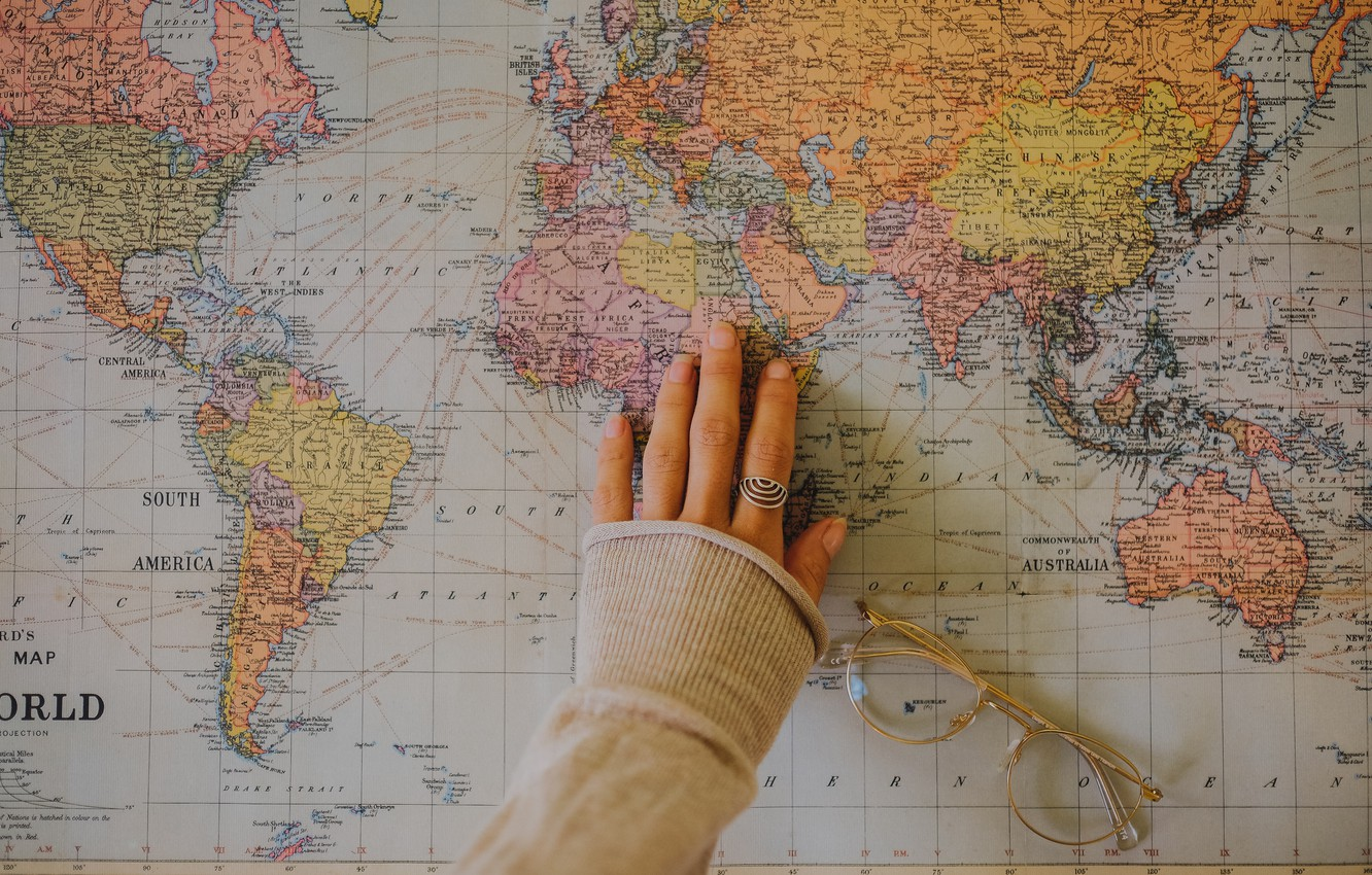Wallpaper Travel The World World Hand Map Glasses Travel Images For Desktop Section Raznoe Download