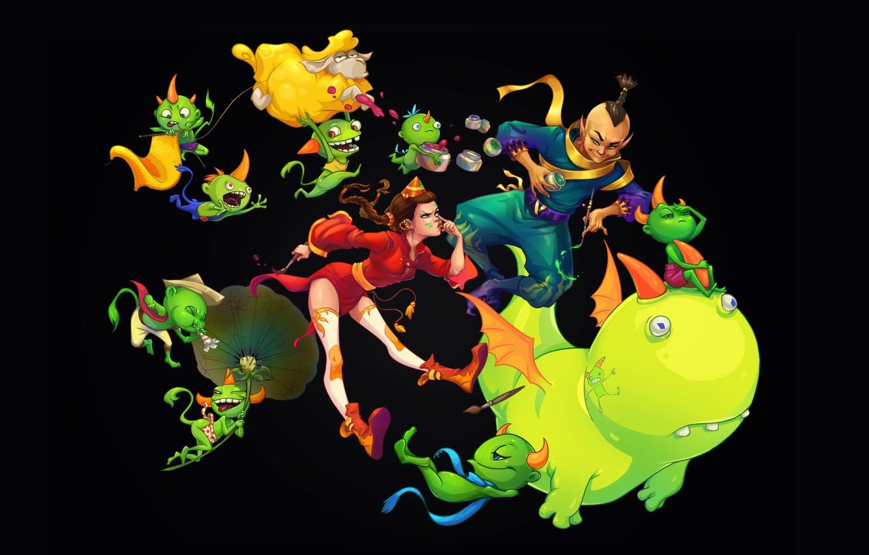 Photo wallpaper fantasy, mood, paint, anime, fantasy, art, monster, children's, Anna Anikeyka, jumble, Color mess