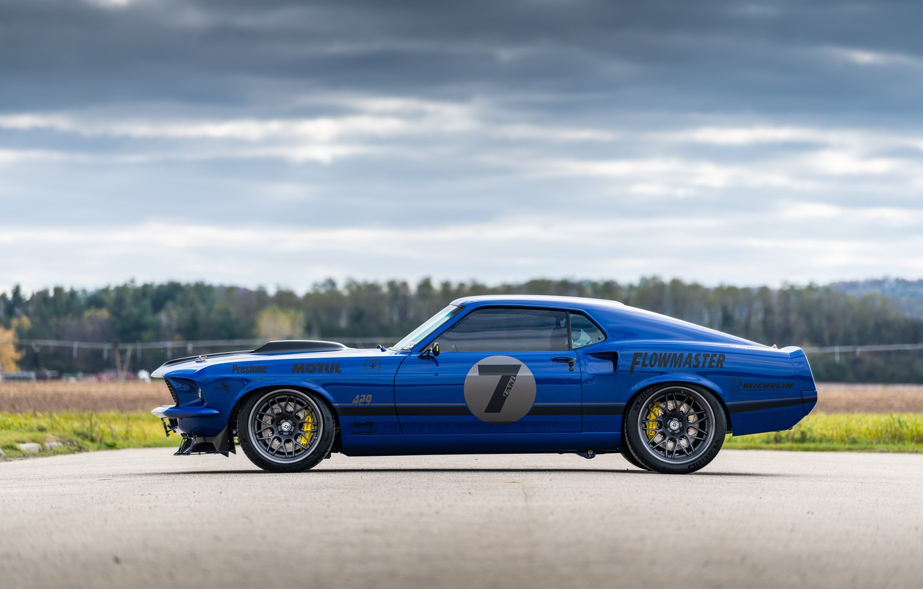 Photo wallpaper Ford, Wheel, Profile, 1969, Ford Mustang, Drives, Muscle car, Mach 1, Classic car, Sports car, …