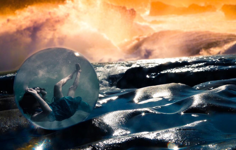 Photo wallpaper dream, light, girl, fantasy, storm, sea, ocean, rocks, sun, pretty, mood, wind, cute, sphere, sight, …