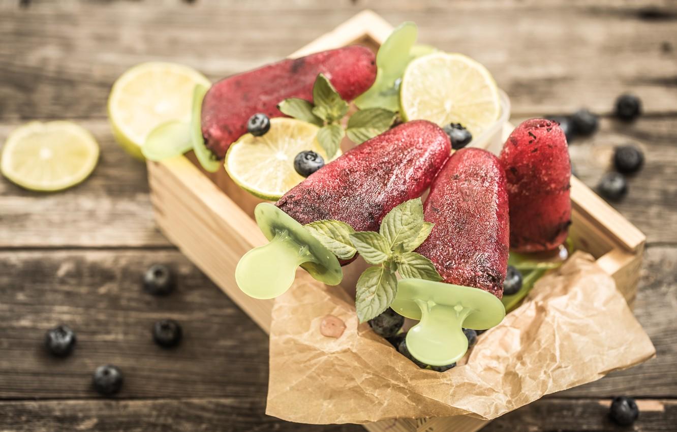 Photo wallpaper berries, lemon, ice cream, box