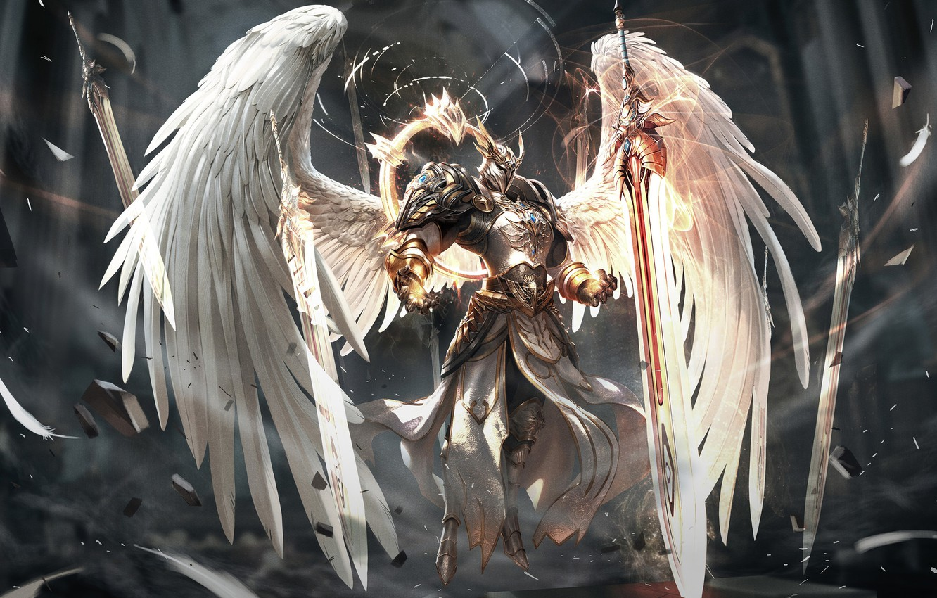 Photo wallpaper Angel, Sword, Wings, Fantasy, Art, Art, Angel, Sword, Wings, Game Art, Era of Angels, Era …