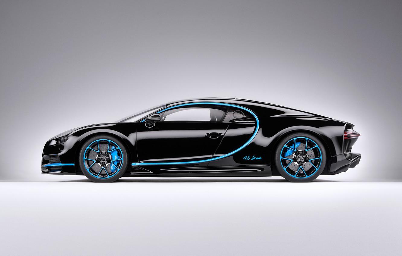 Photo wallpaper background, black, art, side view, hypercar, Bugatti Chiron
