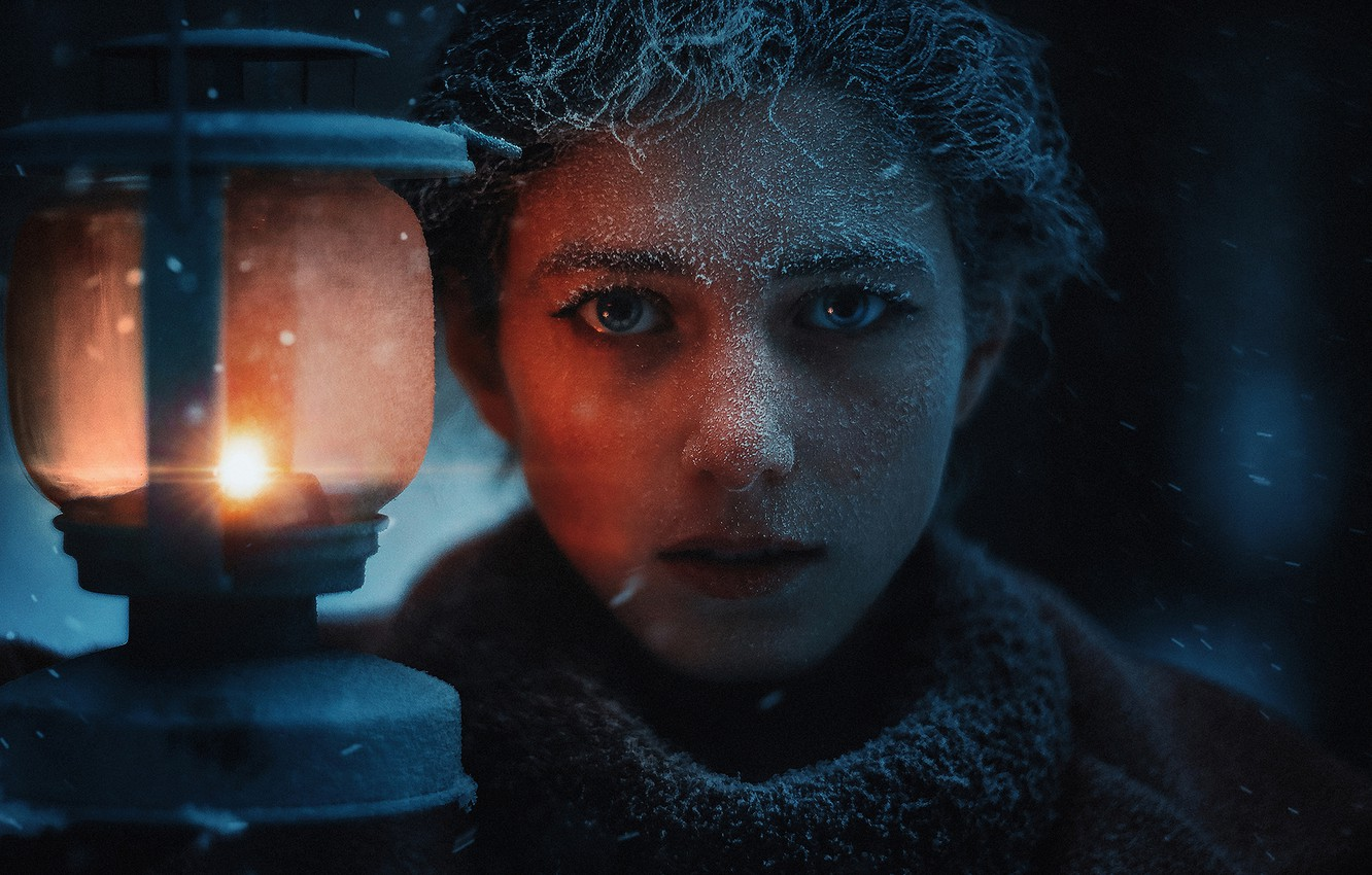 Photo wallpaper frost, look, girl, face, lantern