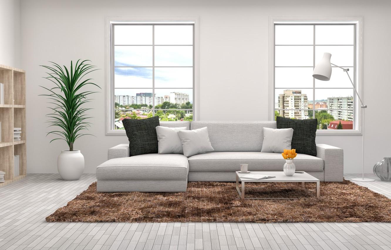 Photo wallpaper design, sofa, furniture, Windows, interior, pillow, living room, decor, racks