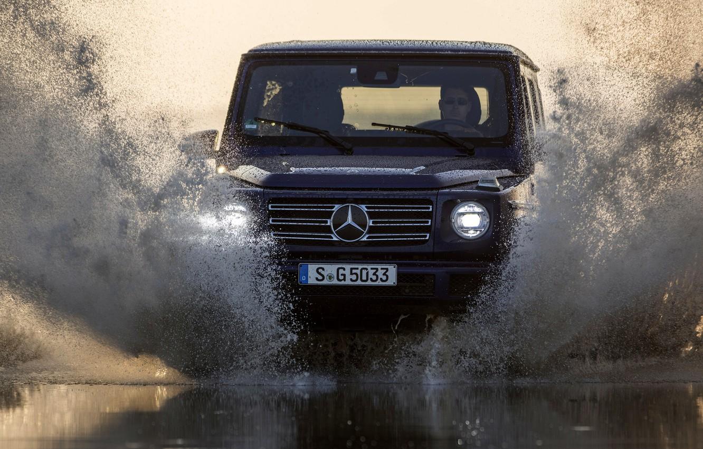 Photo wallpaper water, light, squirt, blue, Mercedes-Benz, SUV, 4x4, 2018, G-Class, G 500, V8