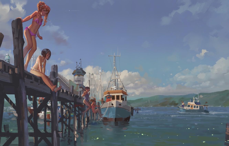Photo wallpaper Girls, Bridge, Boat, Marina