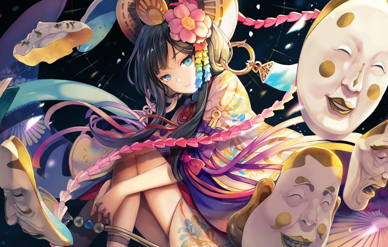 Photo wallpaper girl, mask, Onmyouji, Onmedia