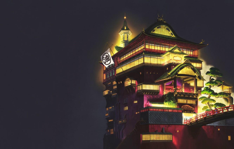 Photo wallpaper Minimalism, Night, Palace, Castle, Light, Style, Asia, Architecture, Art, Spirited away, Lighting, Spirited Away