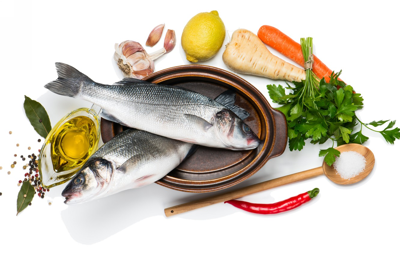 Photo wallpaper fish, seafood, spices