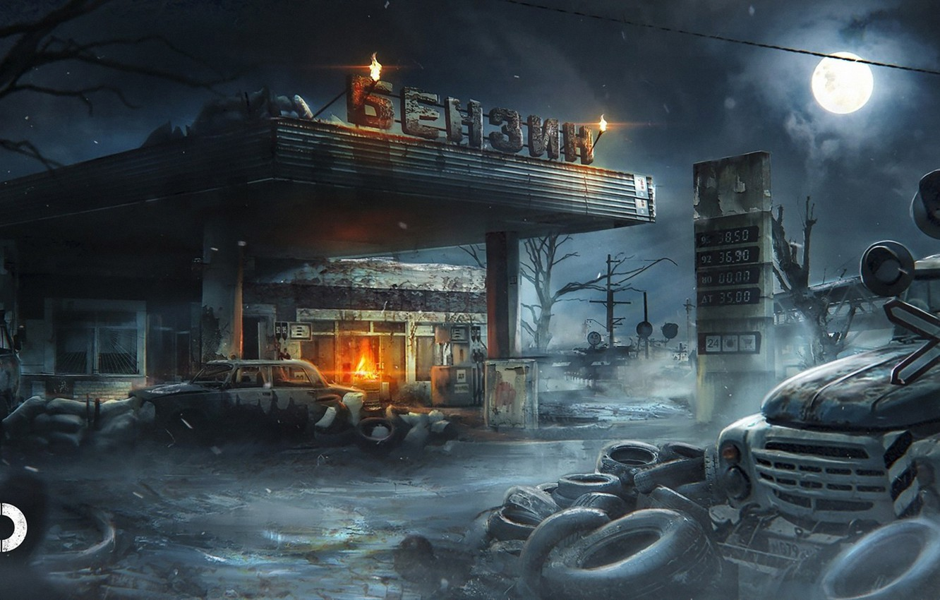Photo wallpaper night, the moon, dressing, art, ZIL, Metro Exodus, Pavel bondarenko