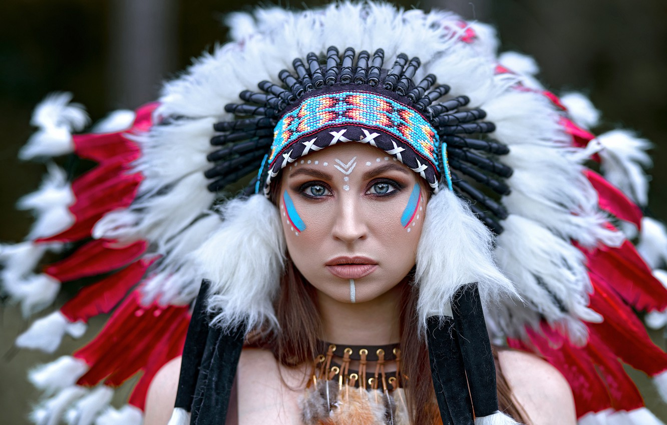 Photo wallpaper look, girl, face, feathers, paint, roach, Vyacheslav Turcan