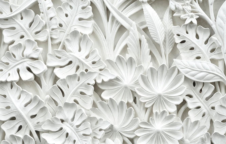 Photo wallpaper leaves, flowers, pattern, stucco