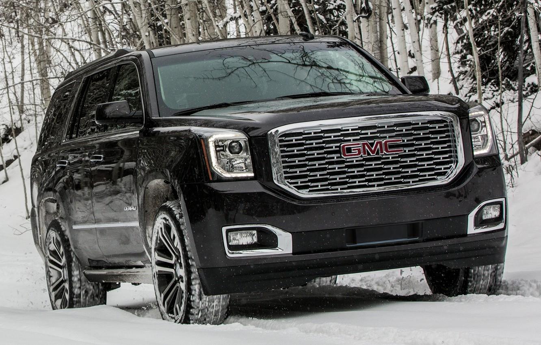 Photo wallpaper winter, snow, black, lights, SUV, black, front, GMC, SUV, big car, GMC Yukon Denali, GMC …