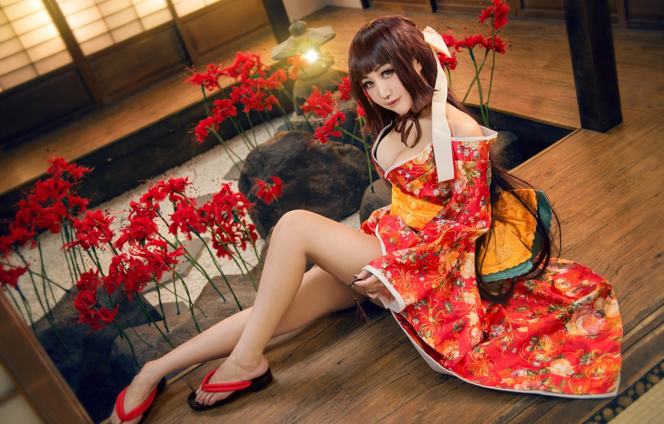 Photo wallpaper chest, look, girl, light, flowers, red, face, sexy, pose, style, stones, background, room, red, feet, …