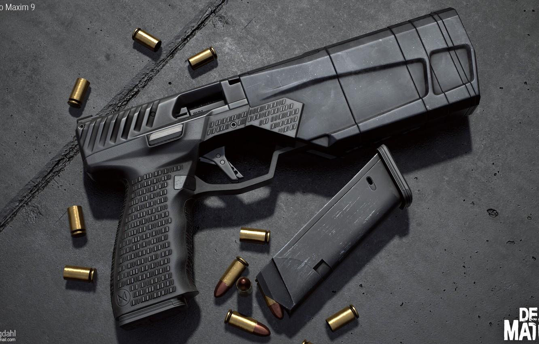 Photo wallpaper gun, weapons, gun, pistol, weapon, render, render, 3d art, rendering, maxim 9, максим9, maxim9, Maxim …