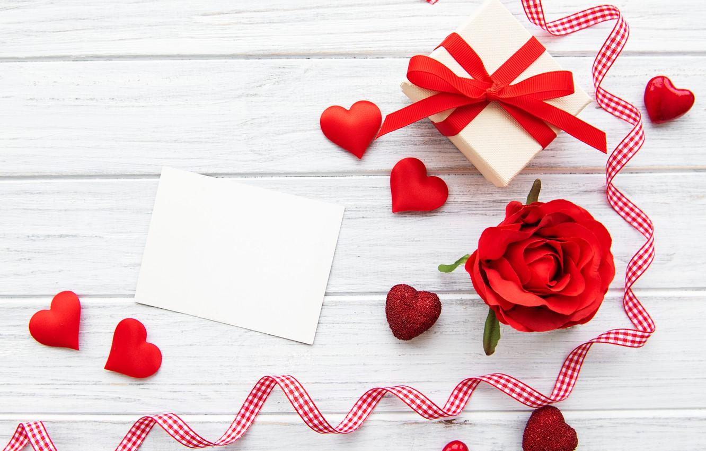 Photo wallpaper rose, Bud, tape, hearts, Valentine's day, gift box, Olena Rudo