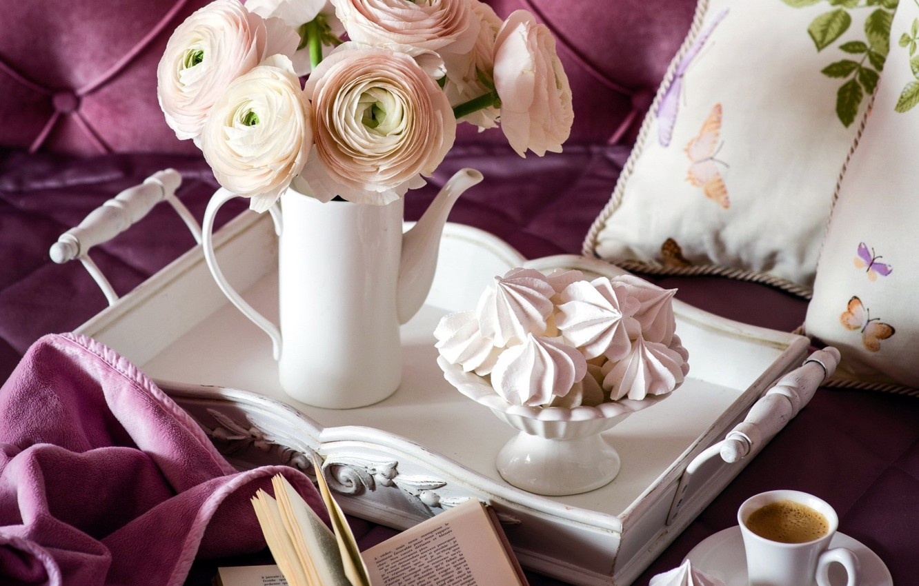 Photo wallpaper flowers, coffee, Cup, marshmallows