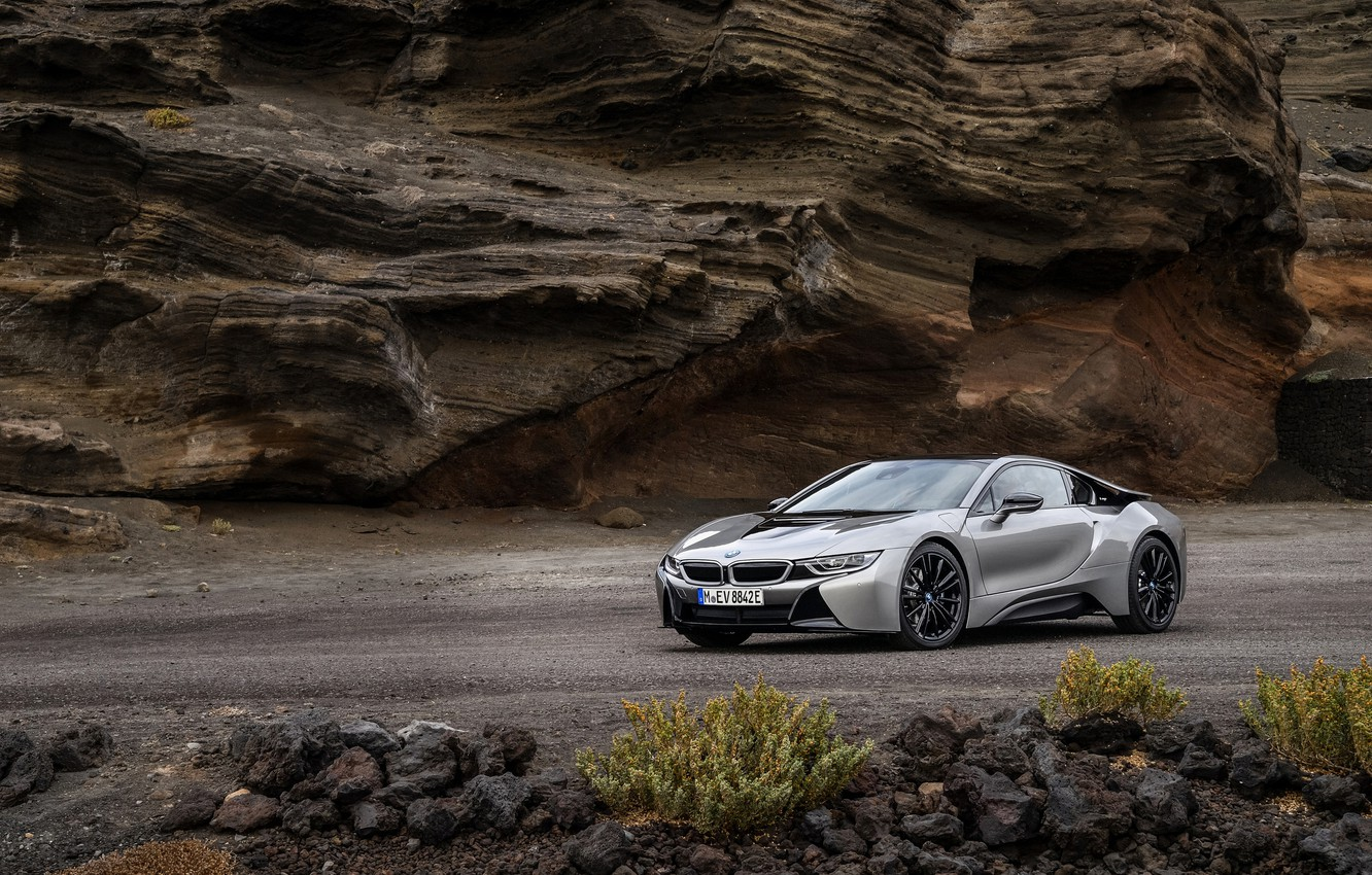 Photo wallpaper road, rock, coupe, BMW, 2018, i8, i8 Coupe