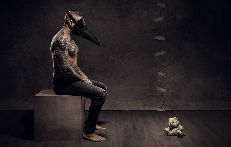 Photo wallpaper people, mask, bear
