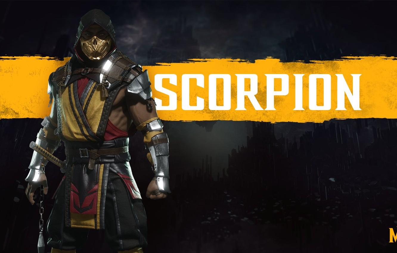 Photo wallpaper The game, Scorpio, Fighter, Art, Mortal Kombat, Mortal Kombat, Scorpion, Character, Mortal Kombat 11, Mortal …