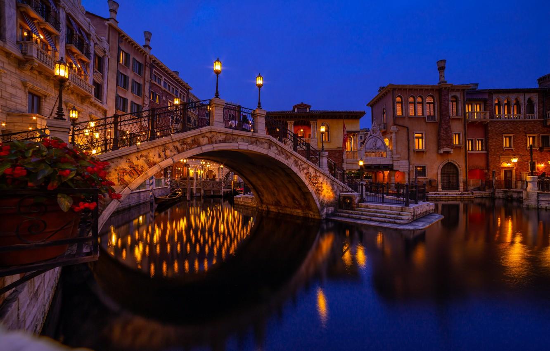 Photo wallpaper water, night, the city, Park, building, home, boats, Japan, lighting, Tokyo, lights, Disneyland, the bridge