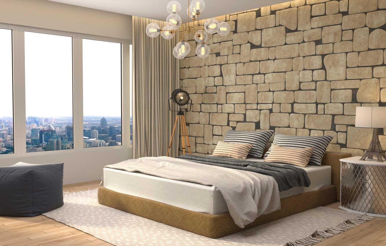 Photo wallpaper design, lamp, bed, interior, window, chandelier, bedroom, modern, bedroom