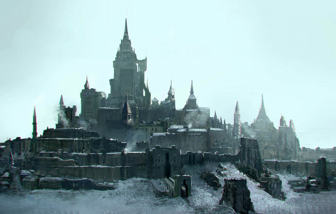 Photo wallpaper Castle, Architecture, Art, Fiction, Wall, Castle, Concept Art, Architecture, Emmanuel Shiu, Environments, The last Knights, …