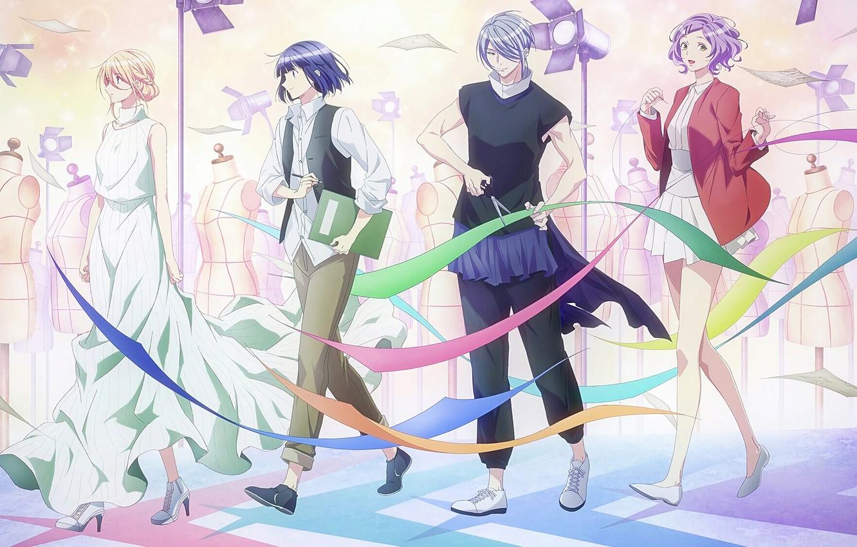 Photo wallpaper tape, girls, guys, scissors, stylists