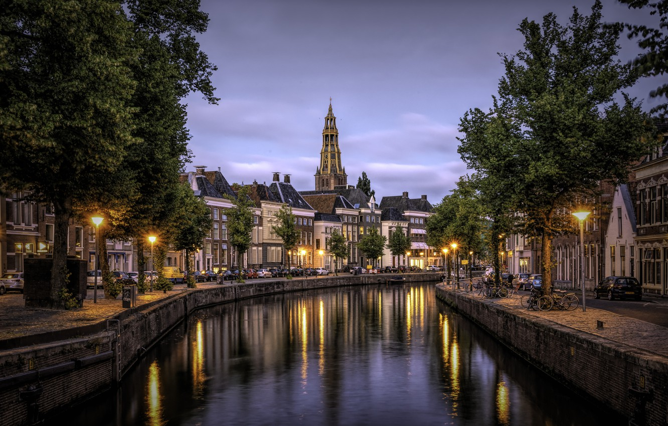 Photo wallpaper the city, building, home, the evening, lighting, channel, Netherlands, Holland, Groningen