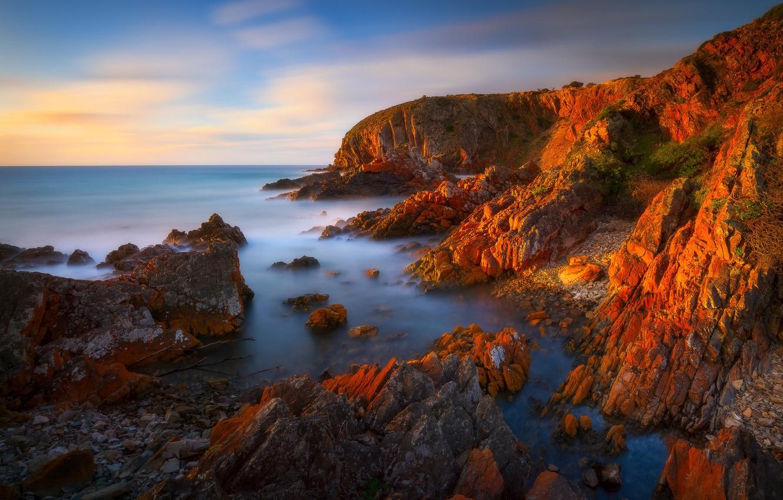 Photo wallpaper landscape, sunset, nature, rocks, island, Bay, Кинг-Джордж