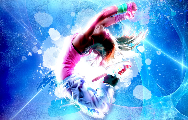 Photo wallpaper jump, sport, photoshop, dance, neon