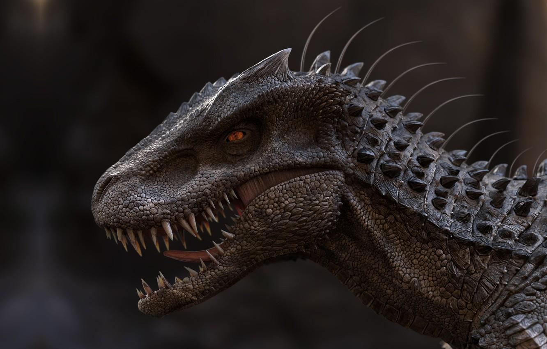 Photo wallpaper dinosaur, art, lizard, qolop tg, The old model