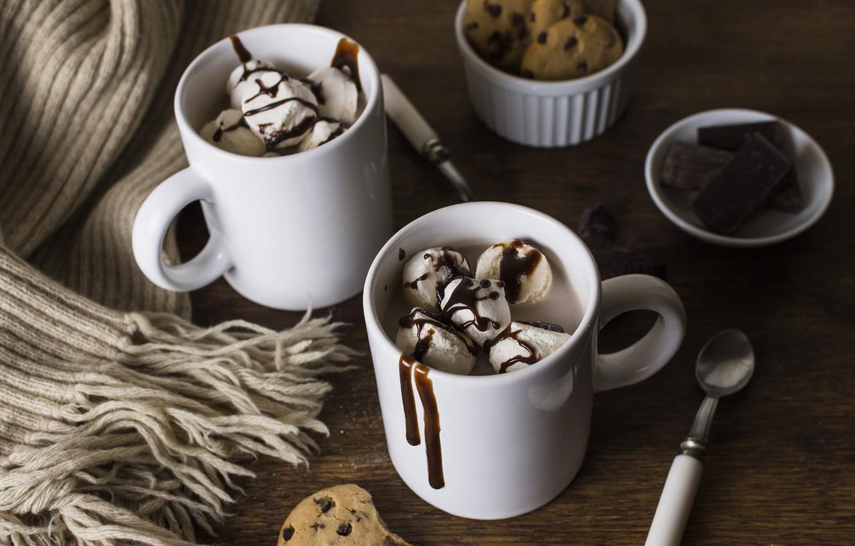 Photo wallpaper chocolate, scarf, ice cream, dessert, Chocolate, cocoa