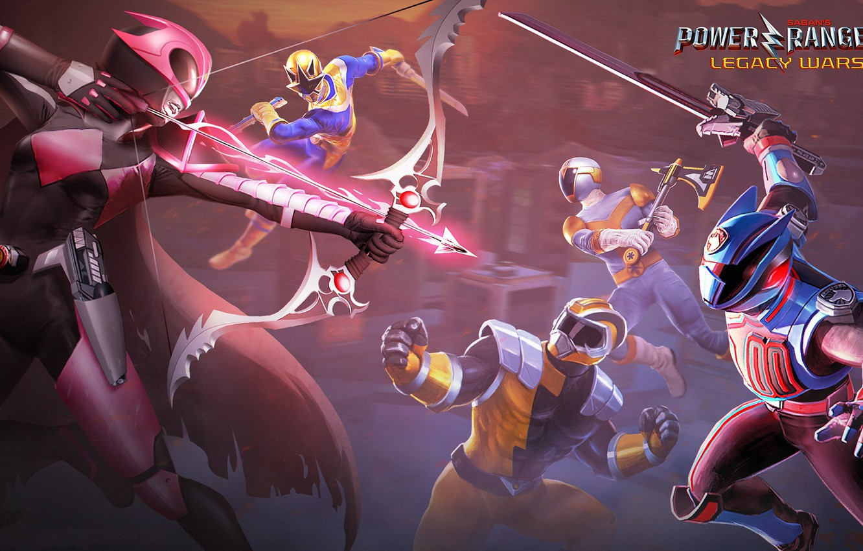 Photo wallpaper axe, sword, game, armor, weapon, bow, Power Rangers, Power Rangers: Legacy Wars, gold ranger, shadow …