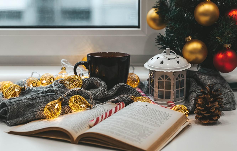 Photo wallpaper balls, mood, balls, Christmas, mug, lantern, New year, book, tree, garland, bump