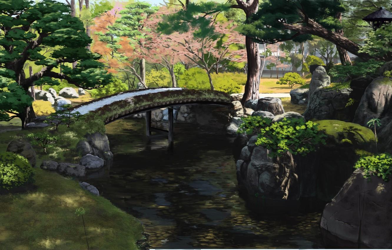 Photo wallpaper Park, stream, Japan, wooden bridge, green leaves, summer day, stones in water, by Sasaki112