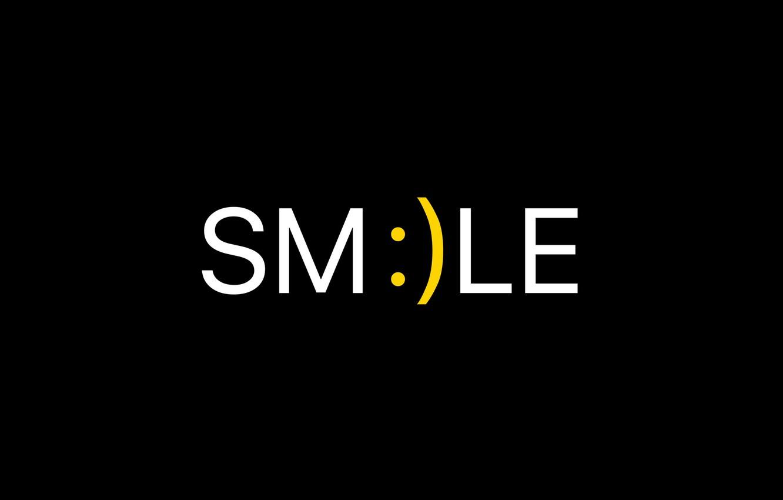 Photo wallpaper smile, background, black, minimalism, black, smiley, minimalism, smiley, smile, the word, background, word