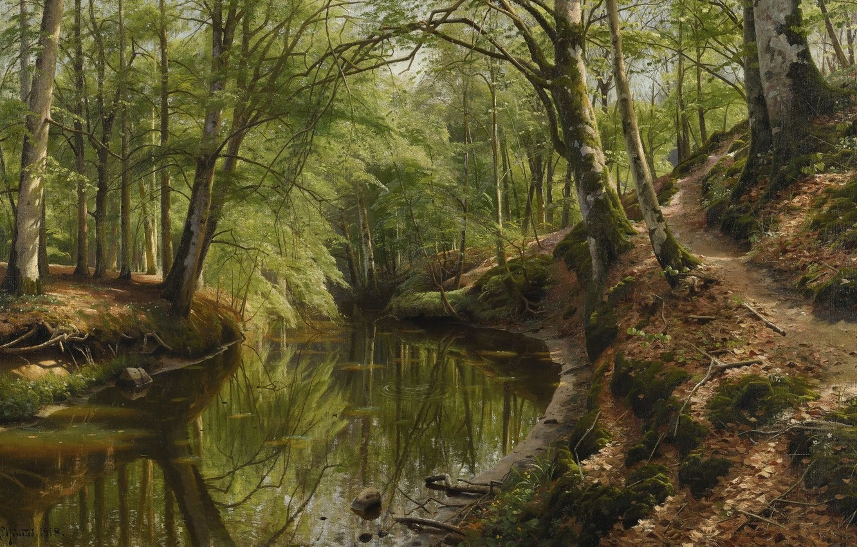 Photo wallpaper 1918, Danish painter, Peter Merk Of Menstad, Peder Mørk Mønsted, Danish realist painter, The Creek …
