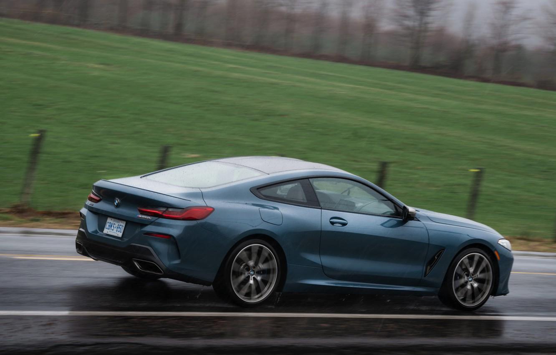 Photo wallpaper field, coupe, BMW, wet asphalt, 2018, 8-Series, 2019, pale blue, M850i xDrive, Eight, G15