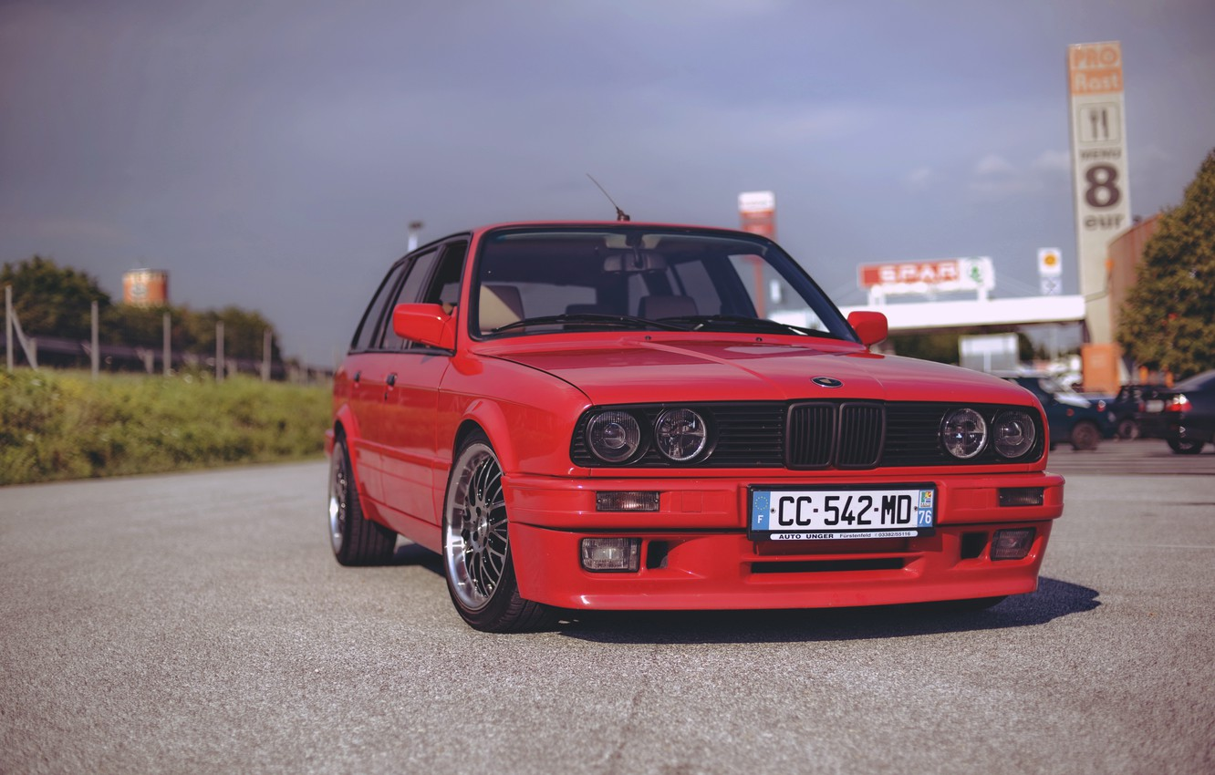Photo wallpaper BMW, Germany, E30, RED, Touring, Wagon, Old School