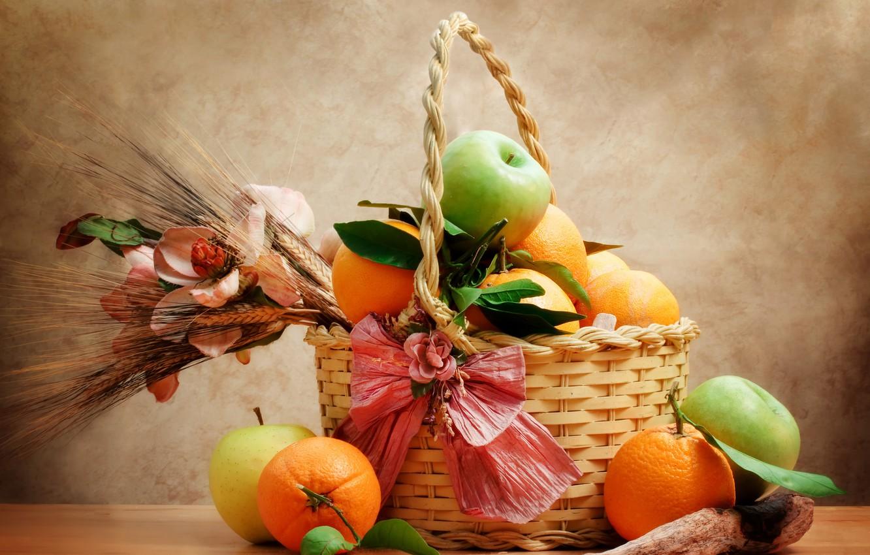 Photo wallpaper basket, apples, oranges, still life