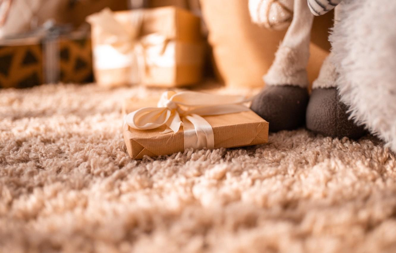 Photo wallpaper macro, gift, carpet, toy, interior, bow, gift, bow