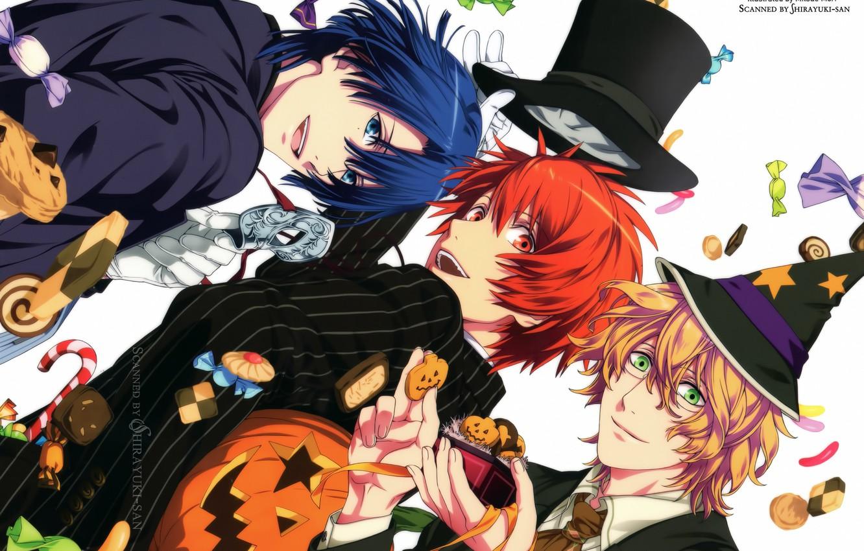 Photo wallpaper joy, mask, red, sweets, Halloween, pumpkin, gloves, jacket, blue hair, green eyes, cookies, witch hat, …