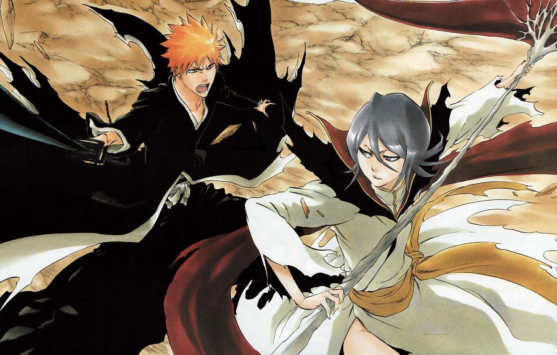 Photo wallpaper Bleach, manga, Bleach, Ichigo Kurosaki, Rukia Kuchiki