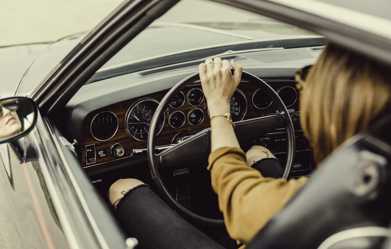 Photo wallpaper girl, hand, the wheel