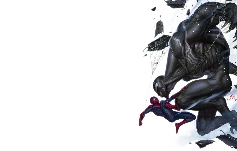 Photo wallpaper Minimalism, Figure, Art, Art, Illustration, Venom, Spider Man, Characters, MARVEL Comics, Comic Art, MARVEL Art, …
