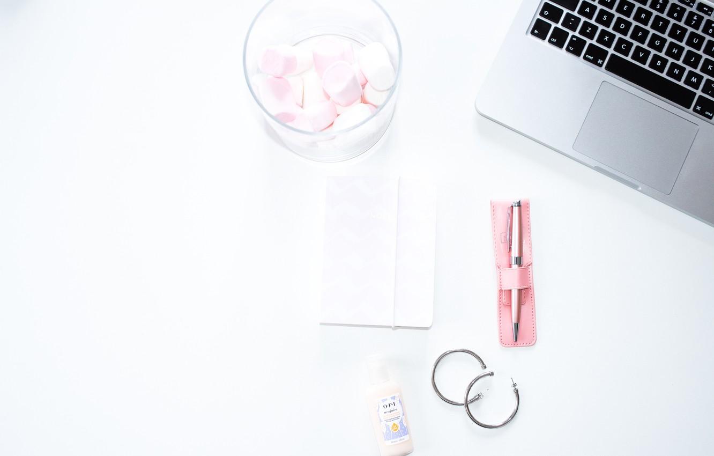Photo wallpaper style, earrings, handle, Notepad, laptop, sweet, composition, marshmallows, pen, laptop, marshmallow